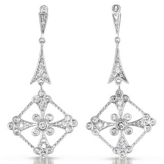 Collette Z Sterling Silver Clear Cubic Zirconia Dangle Earrings