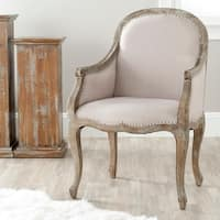 Safavieh Old World Dining Arles Beige/ Antiqued Oak Finish Nailhead Arm Chair