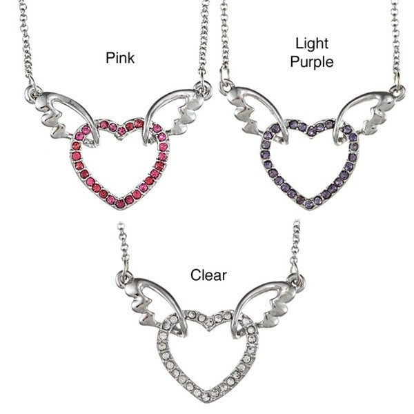 18k White Gold Overlay Crystal Heart Wings Necklace