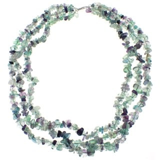 Pearlz Ocean Fluorite Triple Strand Chip Necklace