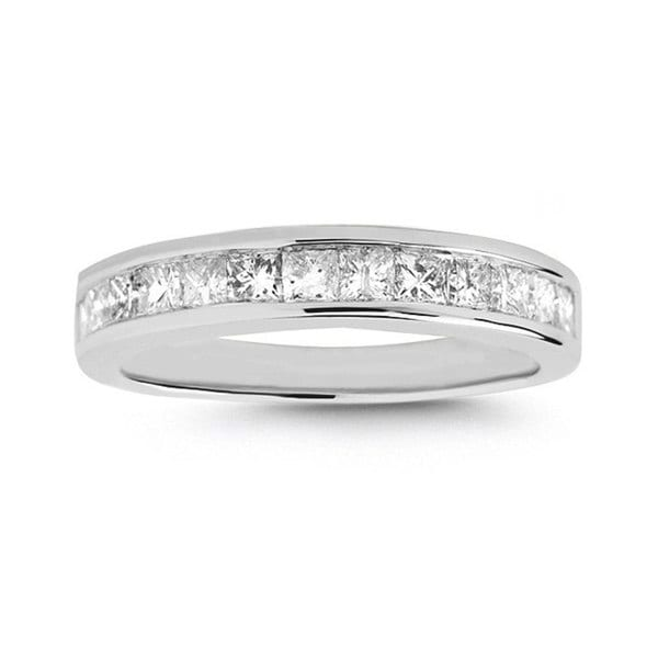 Montebello 14k White Gold 3/4ct TDW Princess-cut Diamond Wedding Band