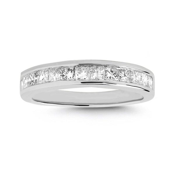 Montebello 14k White Gold 3/4ct TDW Princess-cut Diamond Wedding Band (I-J, I2-I3)