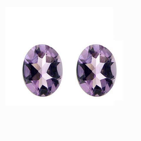Glitzy Rocks 9x7 Oval-cut Amethyst Stones (3 1/4ct TGW) (Set of 2)