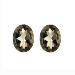 Glitzy Rocks 9x7 Oval-cut Smokey Quartz Stones (3 1/3ct TGW) (Set of 2)