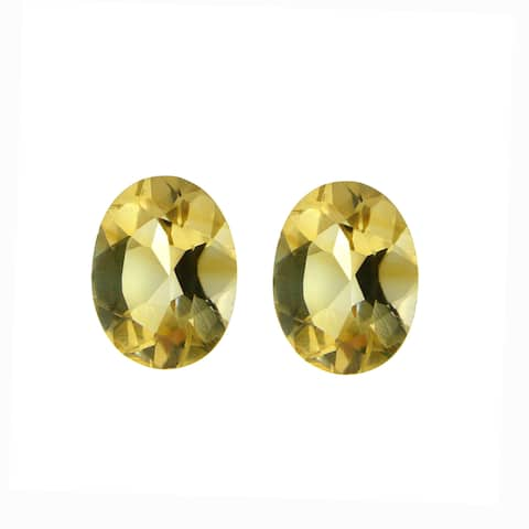 Glitzy Rocks 8x6 Oval-cut Citrine Stones (2 1/10ct TGW) (Set of 2)
