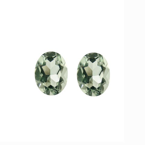 Glitzy Rocks 7x5 Oval-cut Green Amethyst Stones (1 2/5ct TGW) (Set of 2)