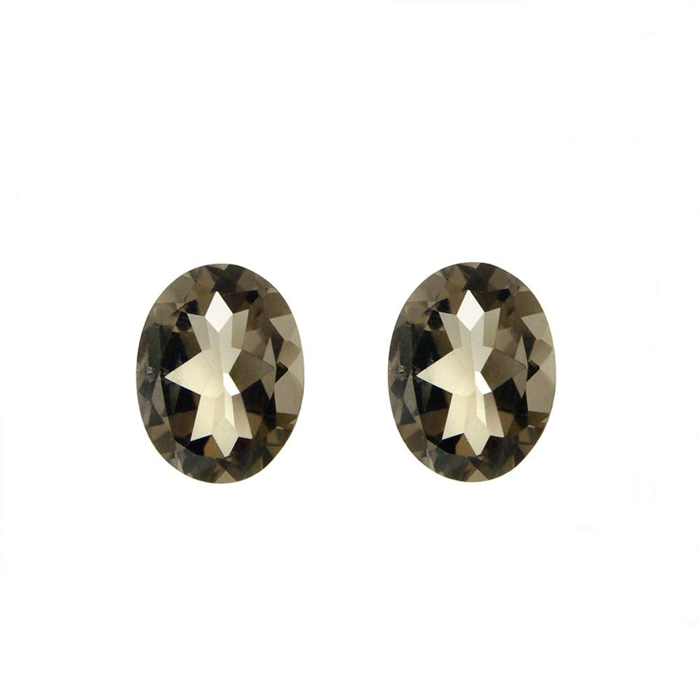 Glitzy Rocks 7x5 Oval-cut Smokey Quartz Stones (1 2/5ct TGW) (Set of 2)