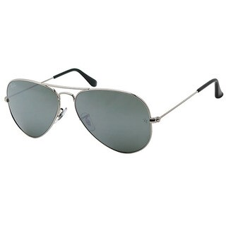 Ray-Ban Aviator Unisex Silver Frame Silver Mirror Lens Sunglasses (2 options available)