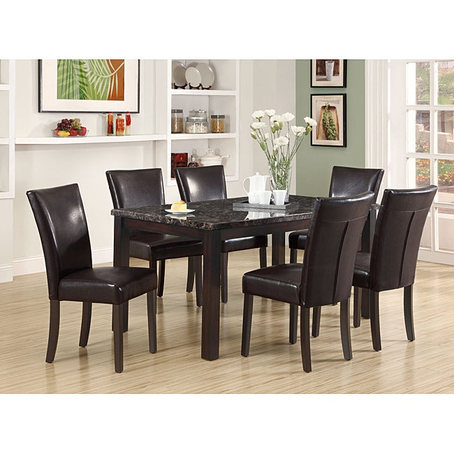 Dark Espresso Marble Veneer Dining Table Free Shipping Today