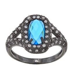 La Preciosa Silver Glass and Cubic Zirconia Black Ring