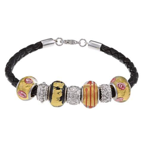 La Preciosa Silvertone Black and Gold Glass Bead Leather Bracelet