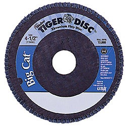 Weiler 4.5-inch Tiger Disc Big Catabr Flap Arbor-Hole Phenolic