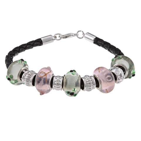 La Preciosa Silvertone Green and Pink Glass Bead Leather Bracelet