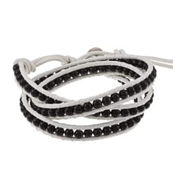 La Preciosa Sterling Silver Onyx Leather Wrap Bracelet
