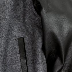 United Face Boy's Leather Sleeve Baseball Jacket - Thumbnail 2