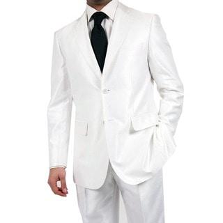 Ferrecci Men's Shiny White Two-button Two-piece Slim Fit Suit