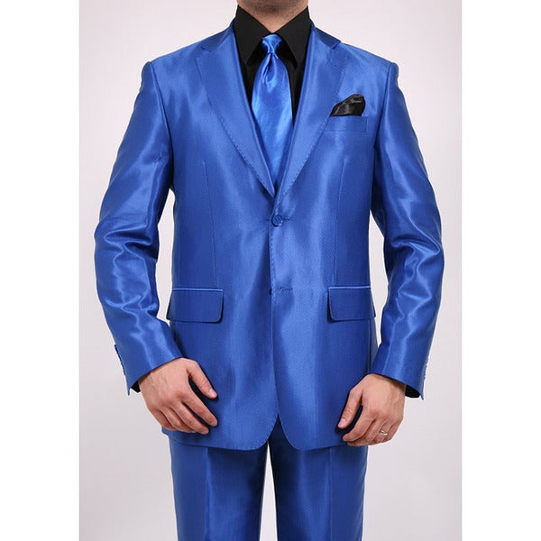 Ferrecci Men's Royal Blue Two-button Two-piece Slim Fit Suit