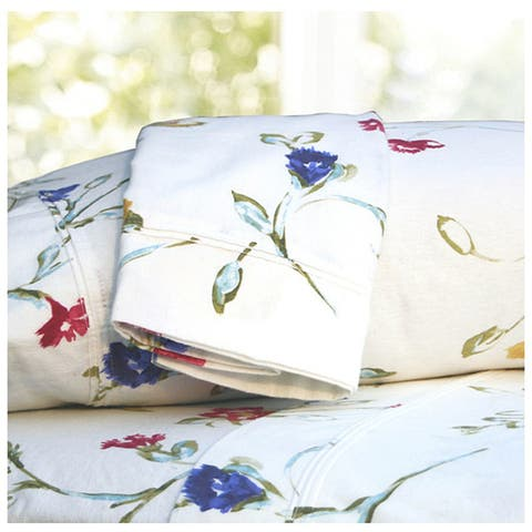 Floral Garden Printed Extra Deep Pocket Flannel Bed Sheet Set