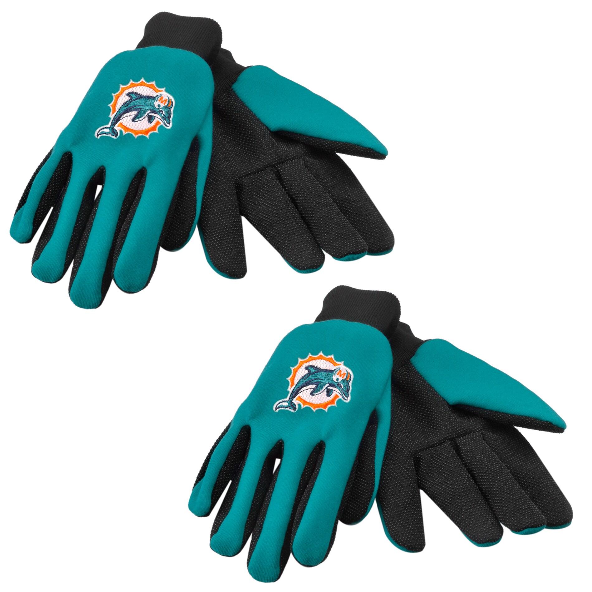 Miami Dolphins Two-tone Work Gloves (Set of 2 Pair)
