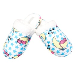 Leisureland Women's Blue Sleepy Cat Flannel Slippers