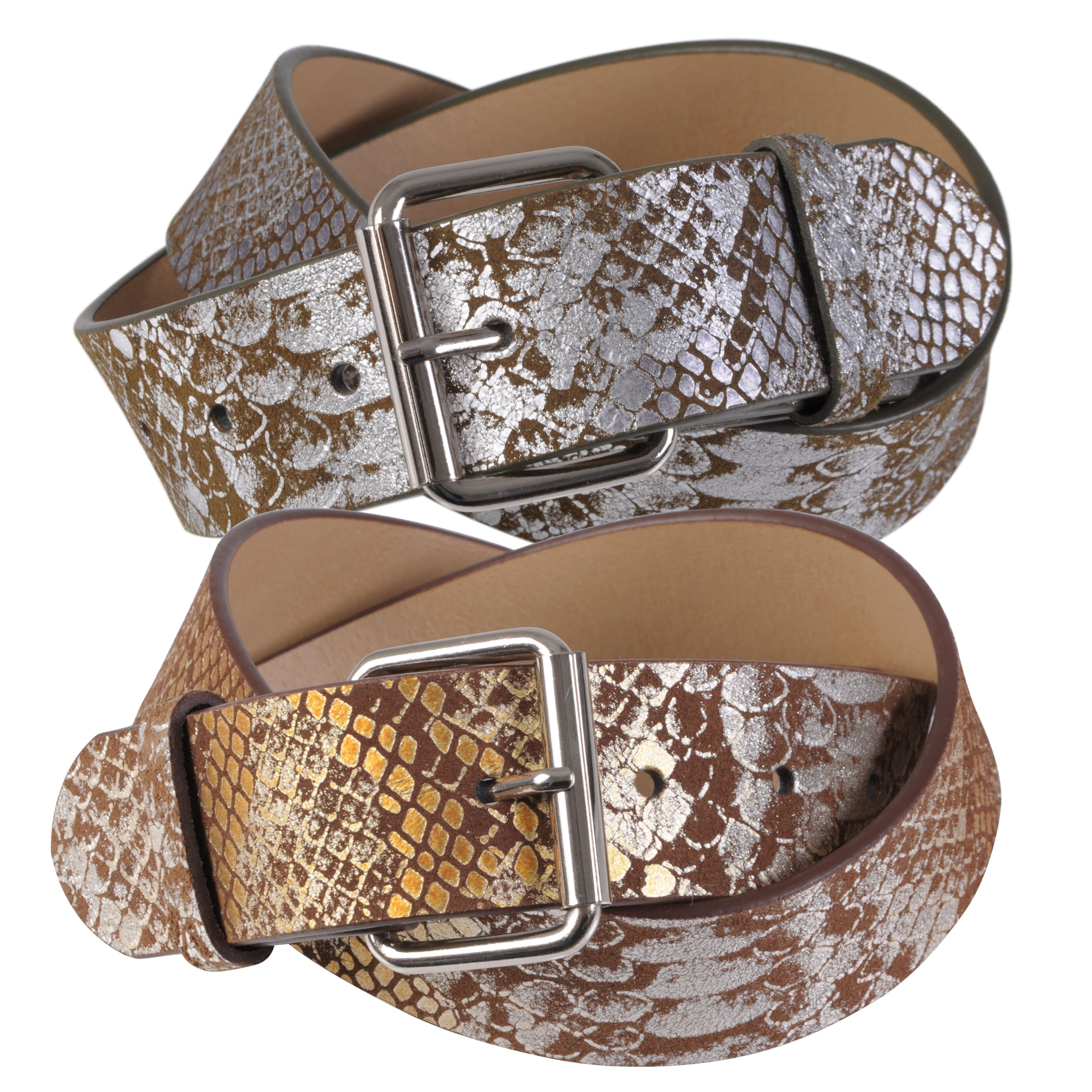 Journee Collection Women's Metallic Python Print Leather Belt Strap