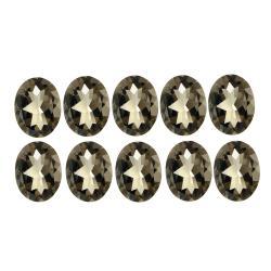 Glitzy Rocks 6x4 Oval-cut Smokey Quartz Stones (5ct TGW) (Set of 10)