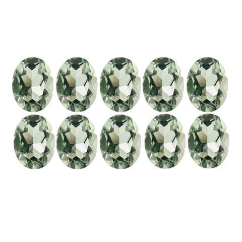 Glitzy Rocks 6x4 Oval-cut Green Amethyst Stones (5ct TGW) (Set of 10)