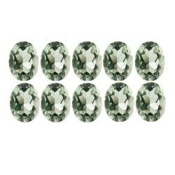 Glitzy Rocks 6x4 Oval-cut Green Amethyst Stones (5ct TGW) (Set of 10)