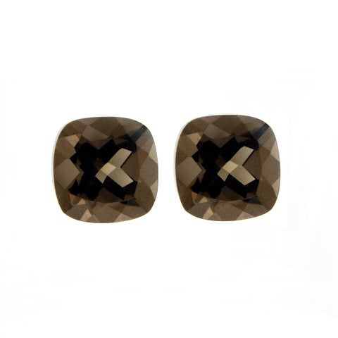 Glitzy Rocks 8x8 Cushion-cut Smokey Quartz Stones (4 4/5ct TGW) (Set of 2)