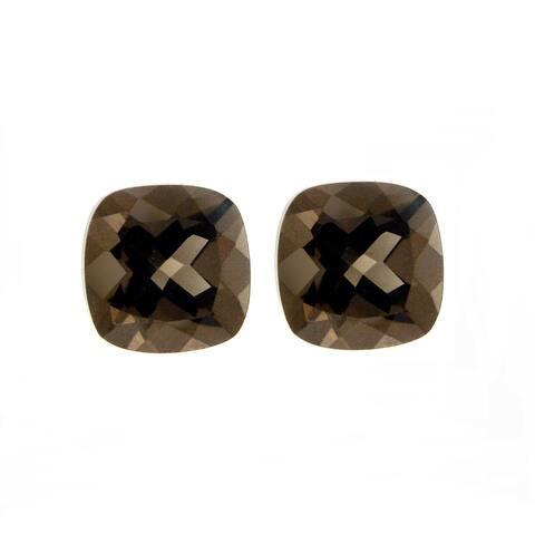 Glitzy Rocks 8x8 Cushion-cut Smokey Quartz Stones (4 4/5ct TGW) (Set of 2)