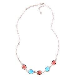 La Preciosa Sterling Silver Purple and Blue Glass Necklace