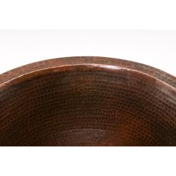 Premier Copper Products Round 16-in Hammered Copper Prep Sink - Thumbnail 1
