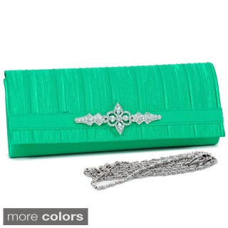 Dasein Rhinestone Brooch Pleated-satin Clutch with Shoulder Strap (Option: Green)|https://ak1.ostkcdn.com/images/products/6393562/P14005418.jpg?impolicy=medium
