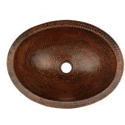 Premier Copper Products Oval Skirted Compact Hammered Copper Vessel Sink