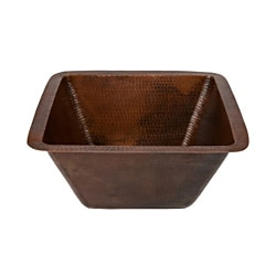 Premier Copper Products Square Hammered Copper Bar/ Prep Sink with 3.5-inch Drain