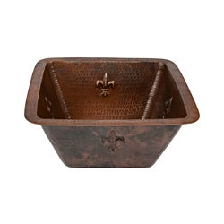 Premier Copper Products Square 15-in Fleur De Lis Copper Bar/Prep Sink