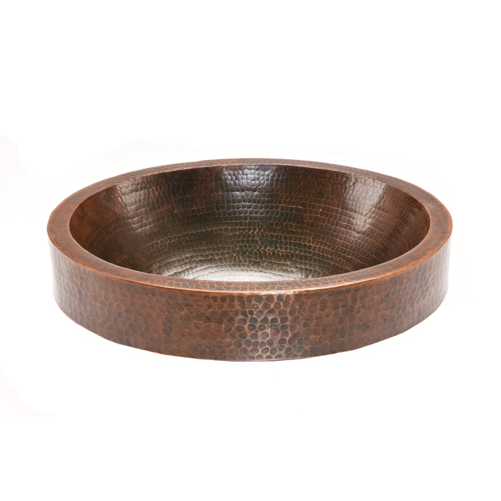 Premier Copper Products Oval Skirted Hammered Copper Vessel Sink