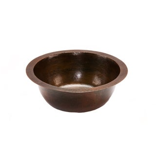 Premier Copper Products Round 14-in Hammered Copper Prep Sink