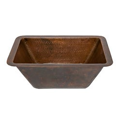Premier Copper Products Rectangle Oil Rubbed Bronze Copper Undercounter Bar Sink