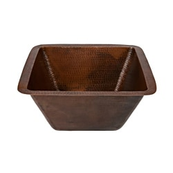 Premier Copper Products Square 15-in Hammered Copper Bar/Prep Sink with 2-inch Drain