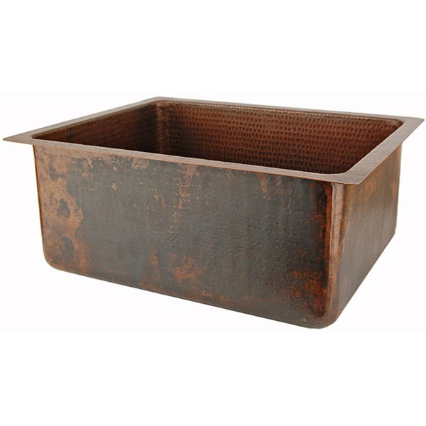 Premier Copper Products Hand-hammered Copper Undermount Single-basin Sink