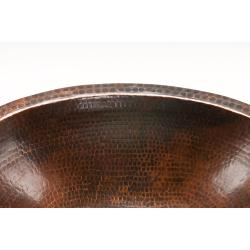 Premier Copper Products Oval Undercounter Hammered Copper Oil Rubbed Bronze Bathroom Sink