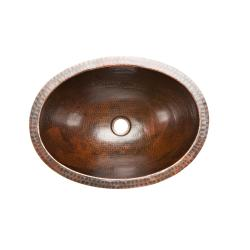 Premier Copper Products Oval Undercounter Hammered Copper Oil Rubbed Bronze Bathroom Sink - Thumbnail 2