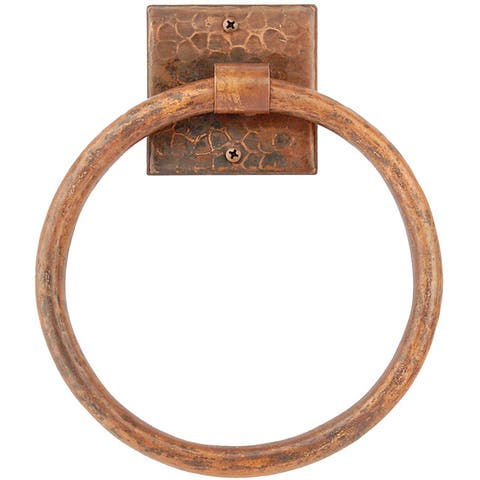 Premier Copper Products 7-inch Hand-hammered Copper Towel Ring - Brown