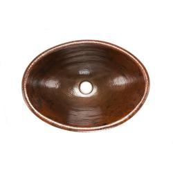 Premier Copper Products Oval Self Rimming Hammered Copper Drop-in Bathroom Sink