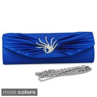Dasein Rhinestone Peacock Brooch Pleated Satin Clutch