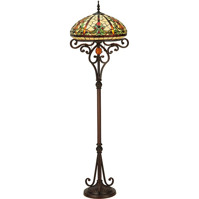Baroque Stained Glass Bronze Floor Lamp