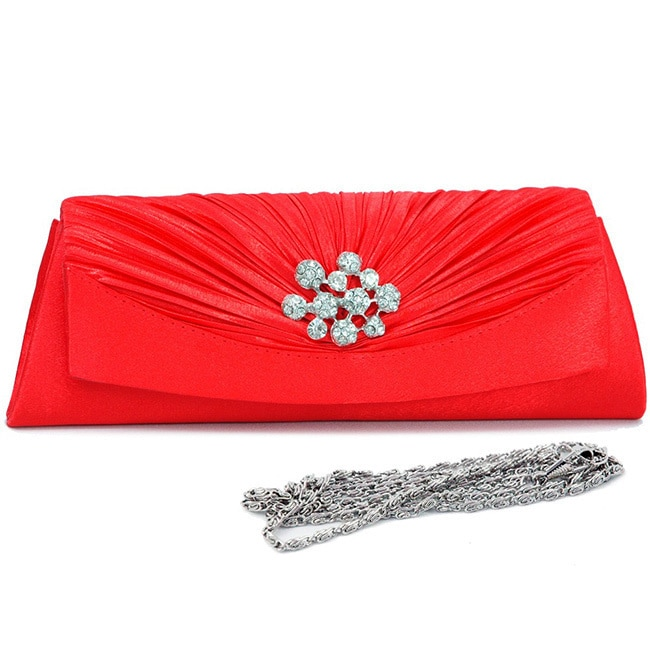 Dasein Rhinestone Accented Pleated Satin Clutch (Black), ...
