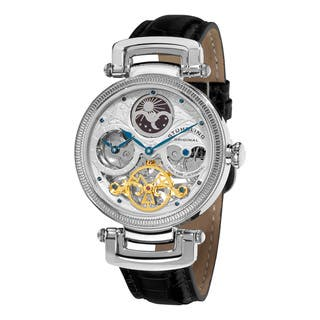 Stuhrling Original Men's Magistrate Automatic Skeleton Watch with Black Leather Strap|https://ak1.ostkcdn.com/images/products/6393702/P14005505.jpg?impolicy=medium