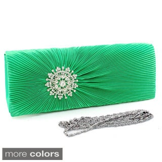 Dasein Rhinestone Pleated Satin Clutch with Detachable Shoulder Strap